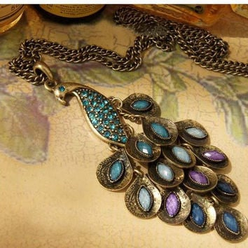 elegant peacock charm necklace beautiful feathers by qizhouhuang