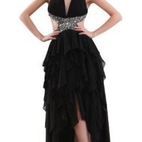 Amazon.com: Herafa Halter Sheath Evening Gowns Sexy Delicate Beading Black: Clothing