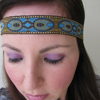 Boho headband, turquoise and gold, Indian print