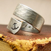 I Refuse to Sink Ring - Anchor - Adjustable Aluminum Wrap Ring