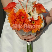 Beautiful Ivory & Orange Rose, Gerbera Bridal Bouquet w/ Lilies Beautiful Ivory & Orange Rose, Gerbera Bridal Bouquet w/ Lilies [Kamila - Bride] - £59.99 : Silk Blooms UK