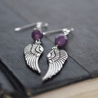 Angel Wing Earrings, Angel Wing Bohemian Purple Colored Earrings, Guardian Angel Wing Jewelry, Angel Wing Charm