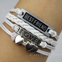 Best friend, heart and heart bracelet, white leather cord bracelet, bangle, bracelet, love girlfriend bestfriend and good friends