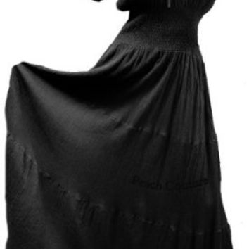 Amazon.com: Hot and Sexy Black Peasant Smocked Dress by Peach Couture (2X/3X): Clothing