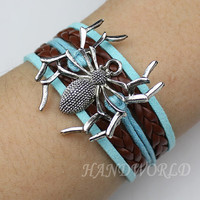 Spider bracelet,antique silver,bracelet for boys and girls,charm bracelet,Christmas gift,bronze braided leather bracelet-N1037