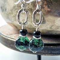 Green Vintage German Glass Earrings Karen Hill Tribe Silver Handmade