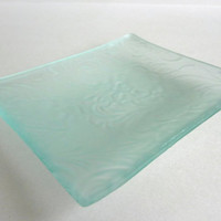Floral Thistle Imprint Glass Dish made from Recycled Glass