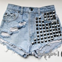 High Waisted Levis Denim Shorts Studded Destroyed Jean Vintage Cutoffs