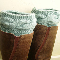 Mint Boot Cuffs - Handknit Leg Warmers - Cable knit boot toppers - WINTER SALE - Winter fashion 2013 - pastel mint green
