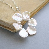 Open Petals Necklace Keishi pearls and by PianoBenchDesigns