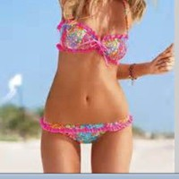 Victoria Secret Hot Pink Floral swim suit! Bandeau Top- Bikini Bottoms