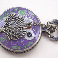 purple enamel based white owl pocket watch necklace by qizhouhuang
