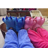 Fuzzy Pink Dinosaur Paw Animal Slippers [3312] size M