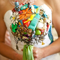 $750.00 Vintage Toy and Jewelry Bridal Bouquet by TheRitzyRose on Etsy