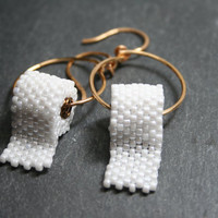Funny Earrings Hoops Toilet Paper Seed Bead FUN by createdbycarla