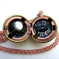 Fly Me to the Moon - Discounted Locket - Black and White Shooting Star and Full Moon, Painted Necklace