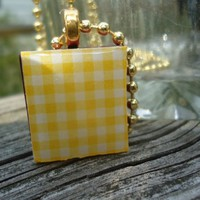 Yellow Gingham: A pendant charm necklace