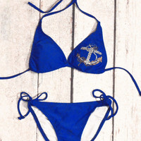 Caladesi Island Royal Blue Cobalt Anchor Bikini Set