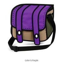 Purple 2D drawing 3D pop Cartoon hand cross body Handbag purse messenger bag 286
