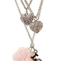 3 necklace set with flower, love and heart charms - debshops.com