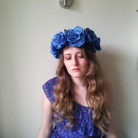 Floral crown flower crown rose crown headband wreath with blue silk roses festival - 'Atlantis'