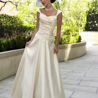 A-line Cap Sleeves Sweep Train Satin Wedding Dresses [MZ0051] - $217.00 : Cheap Wedding Gowns, Discount Bridal Gowns, China Wedding Dresses - China&#x27;s Second Largest Wedding Online Store.