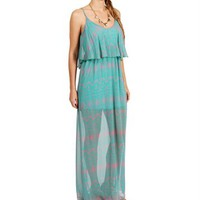 Green/Pink Printed Maxi Dress