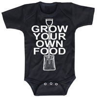 Grow Your Own Food black Onesuit Baby Bodysuit by happyfamily