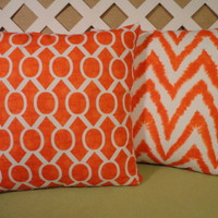 Diva and Sydney Spring Pillow Covers in Tangelo Set of Two