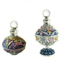 SET OF TWO: Celtic Perfume Bottles inlaid with Swarovski Crystals, Purple, Blue, Pink, Yellow Limited Edition, Hand Enameled Floral Moroccan Style Decorative Bottles with Certificates of Authenticity and Funnel