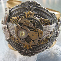 Steampunk Time on Wings Victorian Cuff Bracelet by steamheat