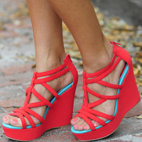RESTOCK Australian Shore Wedges: Coral/Mint | Hope's