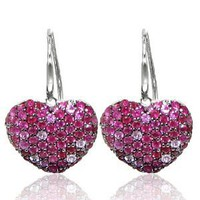 Effy Jewelers Balissima® Ruby & Sapphire Heart Earrings in Sterling Silver 2.25 TCW.