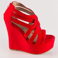 Criss Cross Wedge Sandals - Red from Sandals at Lucky 21 Lucky 21