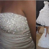 New White Ivory Wedding Dresses Bride Gown Stock Size:6 8 10 12 14 16 18