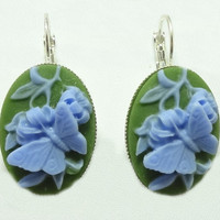 Earrings with Blue Butterflies on a Green Colored Cameo on Lever Back Hooks
