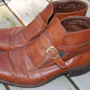 Vintage 60s 70s Florsheim Imperial Brown Buckle Strap Beatles Boots Mens Size 7.5