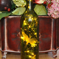 Dragonfly Etched Lighted Wine Bottle Lamp by TipsyGLOWs on Etsy