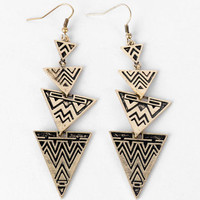 Aztec Earrings in Brass :: tobi