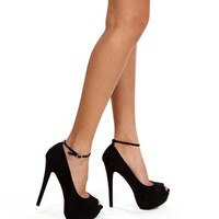 Black Open Toe Pump