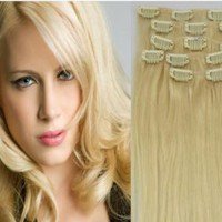#613 Light Blonde Clip In 100% Human Hair Extensions