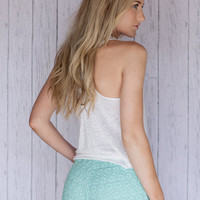 Mint Lace Shorts with Crochet Lace Trim Minty Green Elegant Women's Fashion Shorts Size Medium