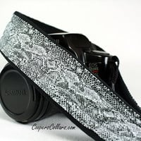 dSLR Camera Strap, Snakeskin Print, Black, White, Grey