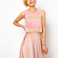 Dress With Contrast Lace Panel