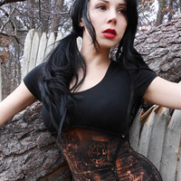 Steampunk Lolita Gothic Post Apocalyptic Corset Zombie Top Neo Victorian Shredded Underbust