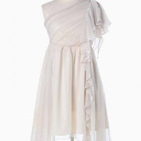 masquerade asymmetrical one shoulder dress in cream