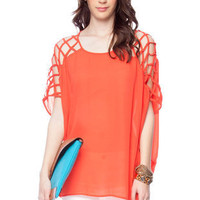 Atlas Shoulder Top in Coral :: tobi