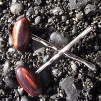 Blood of the Tiger - Red Tiger's Eye Stone Bobby Pin Pair