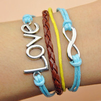 Infinity bracelet love bracelet leather and cotton ropes wrist bracelet sliver infinity bracelet friendship gifts women bracelet  A-13