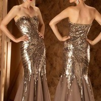 Mermaid Strapless Gold Floor-length Prom Dress With Sequin 5286